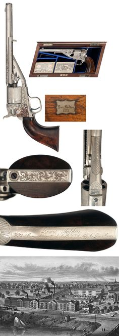 This extraordinary Colt revolver, serial number 1, is factory cased and exhibition engraved and was presented by Colt to Lewis Sheldon on December 1, 1871. Lewis Sheldon (1824-1880) was the bookkeeper and paymaster of Colt's Hartford factory and was employed by Colt from around 1863 until 1871.