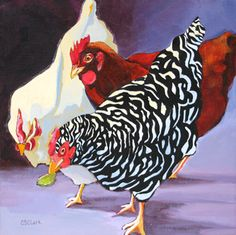 painting of chickens by Carolee Clark