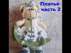 Платье вязаное для кошечки в стиле Тильда часть 2 - YouTube
