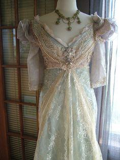 "Original Handmade Vintage Inspired Cinderella ""Ever After Breathe"" Wedding gown Victorian Empire Style"