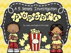 FREE!  Adorable popcorn investigation- a 5 senses activity.