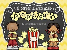 FREE! Adorable popcorn investigation- a 5 senses activity.
