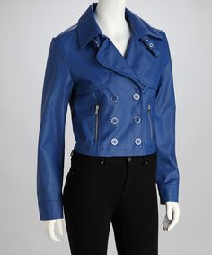 Take a look at this Electric Blue Double-Breasted Jacket by Dollhouse on #zulily today!