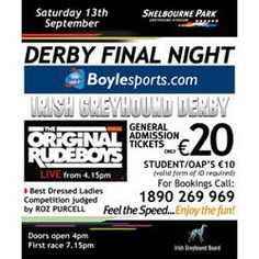 Win a night out for you & 5 friends at the Boylesports Irish Derby Final at Shelbourne Park. Log in now to be in the draw to win. Win A Holiday, The Draw, Finals, Derby, Competition, Ireland, Irish, Park, Night