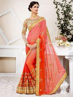 оранжевое индийское сари из шифона, украшенное вышивкой скрученной шёлковой нитью