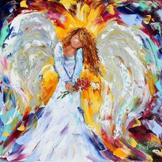 Original impasto painting Spring Angel with Flowers OIL palette knife modern impressionism fine art impasto by Karen Tarlton