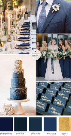 Blue and Gold Wedding Colour Theme For An Elegant Wedding Gold Wedding Colour Theme, Navy Blue And Gold Wedding, Bright Wedding Colors, Popular Wedding Colors, Winter Wedding Colors, Dark Blue Weddings, Wedding Color Schemes, Fall Wedding, Blue Wedding Decorations