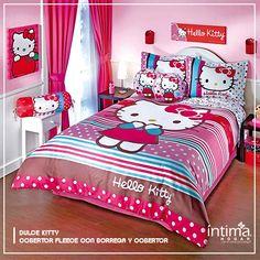 """La linda gatita blanca es el personaje favorito de muchas niñas, incluso de adolescentes que sueñan con tener todo de """"Hello Kitty"""". Este Edredón es ideal para llenar la habitacion de princesa de alegría y color!"""