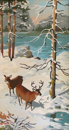 Vintage Paint by Number - Winter Painting - Deer - Rustic - Nature - Woodland Winter Painting, Winter Art, Love Painting, Painting Frames, Painting & Drawing, Paint By Number Vintage, Number Art, Illustration Art, Illustrations