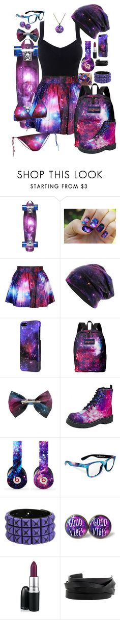 """Galaxy"" by neverland-is-just-a-dream-away ❤ liked on Polyvore featuring D-Street, Sprayground, JanSport, Hot Topic, T.U.K., Beats by Dr. Dre, Retrò, MAC Cosmetics and Gucci"