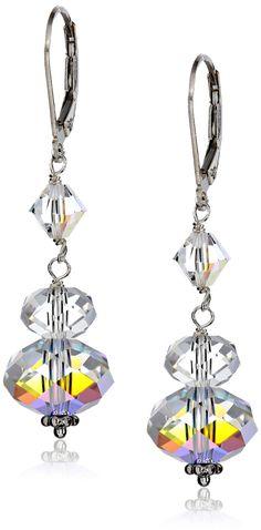 Sterling Silver and Swarovski Elements Drop Earrings: Dangle Earrings