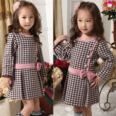 Thicker fabric, large skirt pleats, contrasting button and belt details Dresses Kids Girl, Cute Dresses, Girl Outfits, Baby Dress Design, Frock Design, Kids Frocks, Girl Dress Patterns, Toddler Dress, Kind Mode