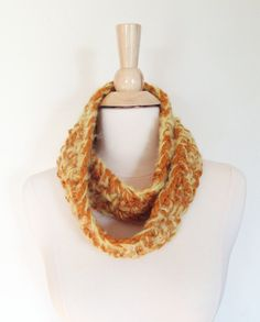 Sunny Day CIRCLE SCARF  SALE Ready to Ship Gold by theyarnival, $16.00