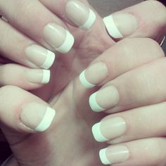 Diy french manicure acrylic nails:)