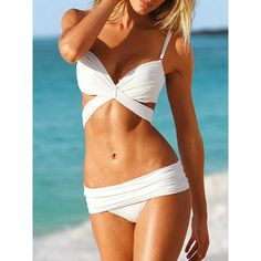 Triangle Black or White Bandage Strap Swimsuit Bikini