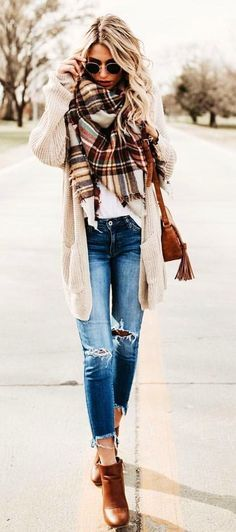 #winter #outfits distressed whiskered blue washed jeans