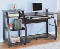 Metal Office Desk w Casters, computerdeskshowroom.com