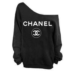 chanel black jumper white logo - Google Search