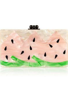 Edie Parker|Jean Watermelon pearl-effect box clutch|NET-A-PORTER.COM