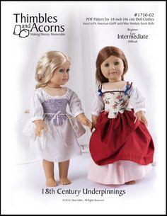 Pixie Faire Thimbles and Acorns 18th Century Underpinnings Doll Clothes Pattern for 18 inch American Girl Dolls - PDF de PixieFairePatterns en Etsy https://www.etsy.com/mx/listing/203312620/pixie-faire-thimbles-and-acorns-18th
