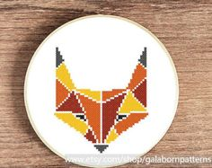 SALE Fox - PDF counted cross stitch pattern - Geometric - Autumn woodland