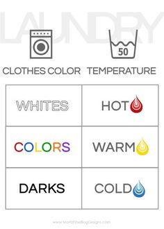 Do you kids need to learn how to do laundry? Hang this handy free printable in the laundry room so they can remember what settings to use on the washing machine!