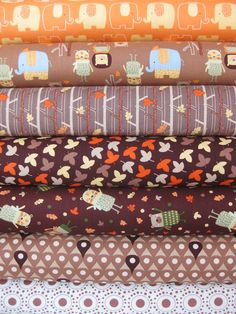 Camelot Cottons, Woodland Adventure, Brown in FAT QUARTERS, 7 Total