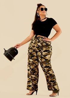 2f7a6abac8e Plus Size Outfits - Cutout Tee with Wide Leg Camo Pant