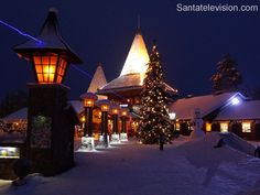 Santatelevision photo: Santa Claus Village and Arctic Circle line in Rovaniemi Lapland Finland image home of Father Christmas in Finnish Lapland Santa Claus Village, Santa's Village, Lappland, Lapland Finland, Arctic Circle, Winter Christmas, Merry Christmas, Image House, Winter Time