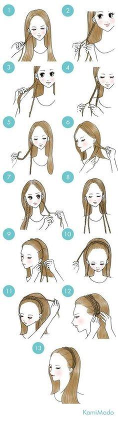 Hairstyles with bandana 52 Ideas Hair Prom Straight Easy Hairstyles 52 Ideen Hair Prom Straight Easy Frisuren New Braided Hairstyles, Headband Hairstyles, Trendy Hairstyles, Headband Updo, Braid Headband Tutorial, Party Hairstyle, School Hairstyles, Curly Hairstyles, Wedding Hairstyles