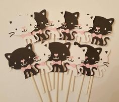 Tuxedo cat cupcake toppers  set of 12 black and by JCPaperPlace