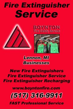 Fire Extinguisher Service Lennon, MI (517)  316-9911) Call the Experts at Boynton Fire Safety Service.. We are the complete source for Fire Extinguisher Service for Local Michigan Businesses We would love to hear from you.. Call us Today!