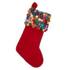 Buy John Lewis Felt Pom Pom Christmas Stocking Online at johnlewis.com