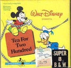 Disney Classics-Tea For Two Hundred- Super reel- 3 inch Film New Sealed Super 8 Film, Film Stock, Disney Presents, 8mm Film, Walt Disney, Silent Film, Classic Films, Vinyl Records, Tea