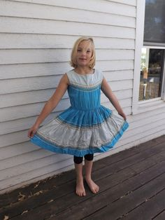 ee32223c 50s Girls Blue Patio Dress 50s Country Southwestern Square Dance Childrens  Vintage Peggy Lee