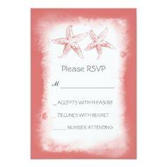 Whimsical pink coral beach wedding RSVP cards Custom Invitation