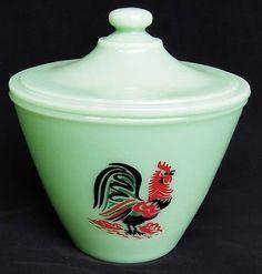 Jadeite Jade Jadite Color Glass Vintage Style Rooster Canister