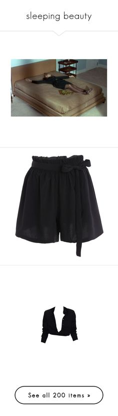 """""""sleeping beauty"""" by haomind ❤ liked on Polyvore featuring shorts, bottoms, black, short, plus size shorts, short shorts, plus size short shorts, short culottes, plus size culottes and tops"""