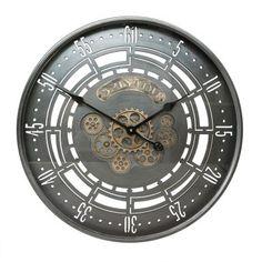 Vintage Wand Uhr beige Holz Optik Glas Zeit Anzeige Ess Zimmer Deko Living-XXL