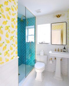 Beach House Guest Bathroom Reveal - Bright Bazaar by Will Taylor - Beautiful beach house guest bathroom with turquoise scallop tile from Fire Clay tile paired with le - Mermaid Bathroom Decor, Bathroom Colors, Bathroom Layout, Turquoise Bathroom, Bathroom Accents, Bathroom Ideas, Bad Inspiration, Bathroom Inspiration, Brown Bathroom