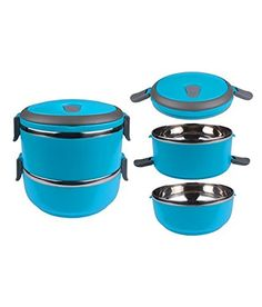 Buy Tiffin_2 layer_Blue Home unian Stainless Steel and Plastic 2 Containers Lunch Box Online at Low Prices in India - Amazon.in
