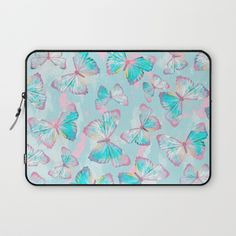 BUTTERFLIES BLUE Laptop Sleeve  #butterfly #butterflies #spring #summer #interior #design #home #decor #decoration #blue #pink #yellow #insects #pillow #bedroom #livingroom #bathroom #fashion #style #curtain #bag #mug #duvet #cover #bedding #art #print #canvas #tapestry #wall #paint #painted #laptop #sleeve