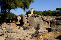 The ruins of The Temple of Zeus, Olympia, Greece