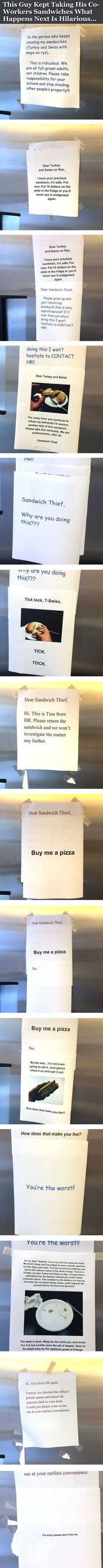 This Guy Kept Taking Co-Workers Sandwiches What Happens Next Is Hilarious... funny jokes story lol funny quote funny quotes funny sayings joke hilarious humor prank stories office pranks funny jokes pranks