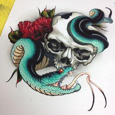 череп змей розы эскиз тату