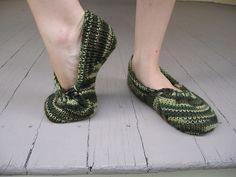 Machine knit slippers
