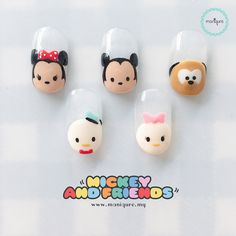 Mickey And Friends - Tsum Tsum Nails : ?Mickey And Friends Tsum Tsum Nails? Minnie Mouse, Donald Duck, Mickey Mouse, Daisy and Pluto the Pup Disney Manicure, Nail Manicure, Manicure Ideas, Minnie Mouse Nails, Mickey Mouse Nail Art, Disney Inspired Nails, Duck Nails, Nails For Kids, Girls Nails