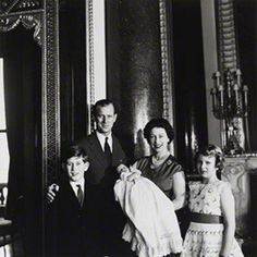 And then there were three.  The Duke, The Queen, Prince Charles and Princess Anne at the christening of the newest member of the Royal Family, Prince Andrew.  March, 1960.