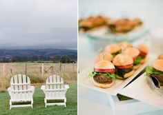 Touch of ease: Adirondack chairs and mini burgers.