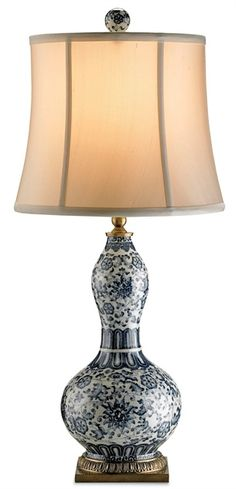 PRODUCT NAME: Attraction Table Lamp DIMENSIONS: 26-3/4h x 12w NUMBER OF LIGHTS: 1 SHADES: Cream Silk MATERIAL: Porcelain/ Brass FINISH: Whit...
